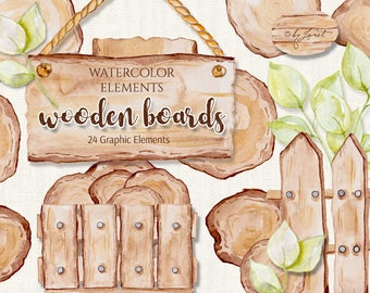 Wooden Boards - art clipart - Illustration - Watercolor Elements - PNG file