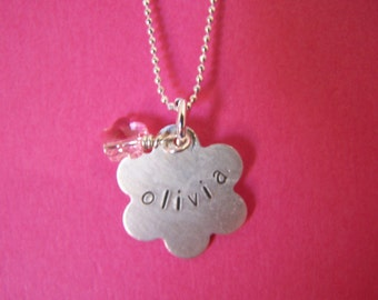 Hand Stamped Personalized Necklace - Sterling Silver - Daisy for little Girls