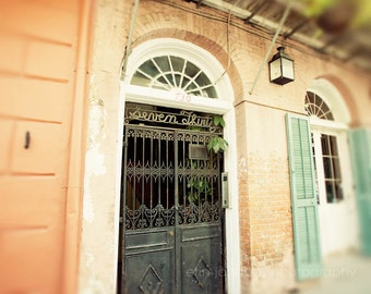 new orleans photography, french quarter architecture, orange home decor, ironwork, louisiana print, living room wall art,  Seven Thirty