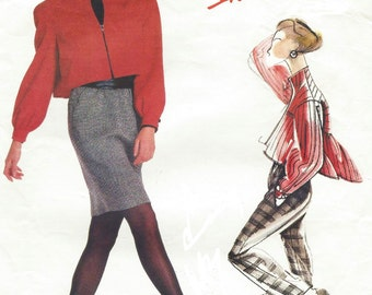80s Adri Womens Front Zipper Jacket, Tapered Skirt & Tapered Pants Vogue Individualist Sewing Pattern 2116  Size 12 14 16 Bust 34 36 38 FF