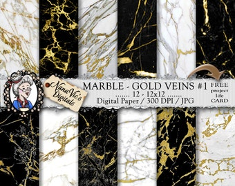 Marble Digital Paper, white / black marble with gold veins, marble textures, marble backgrounds,  Printable, photography, marble back drops