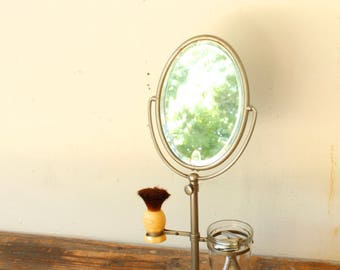 Vintage Antique Table Top Shaving Mirror Stand Tilt Oval Mirror Adjustable Height Razor and Brush Holder Fathers Day Gift