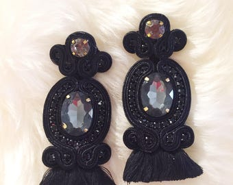 Black tassel Earrings !