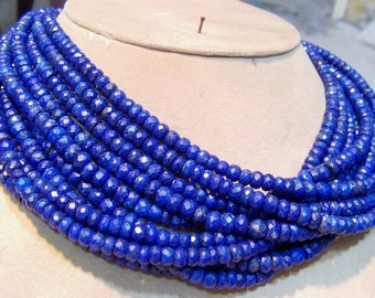 1 Strand   Lapis lazuly Faceted Roundel  beads   14''  25, grams  6 .MM