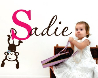 Monkey, Name Wall Decals, Custom Vinyl Decal, Girls Name Decal, Kids Room Decor, Nursery Name Sign, Playroom Decal, Vinyl Stickers, Lucylews