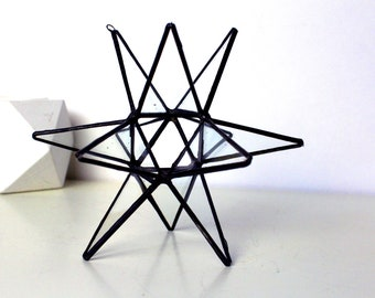 3D Clear Glass Moravian Stars - Home Decor - Wedding Decor - Ornaments - Handmade Stained Glass