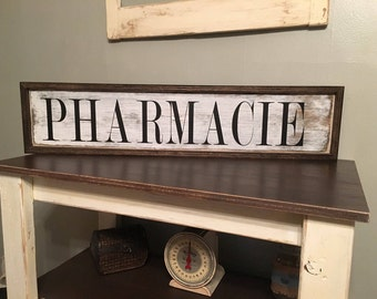 Pharmacie Sign,Wood Pharmacie Sign,Rustic Wood Signs,Farmhouse Signs,Rustic Signs For Office,Farmhouse Wall Decor,Rustic Wall Decor