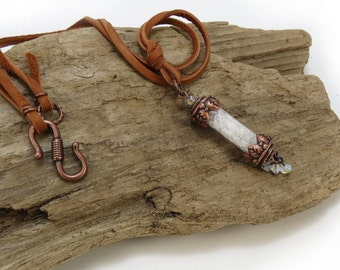 Icy Quartz Crystal Vial Necklace, Copper Vial Gemstone Necklace, Steampunk Jewelry, Deerskin Leather Cord, Bohemian Jewelry, Item 297J