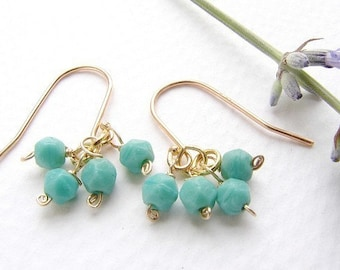 Teal clustered earrings, Vintage seafoam mint  drop earrings, 14kt gold filled simple everyday drop earrings