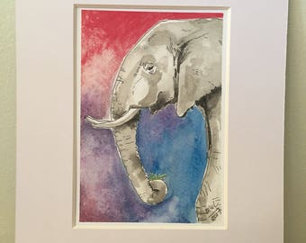 Art print Elephant #1 5x7 print for 8x10 frame