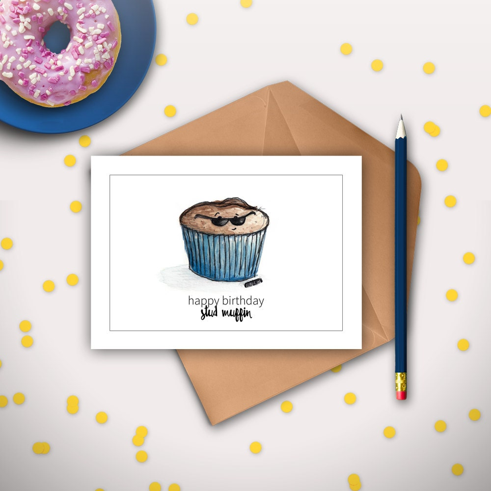 Boyfriend birthday card husband birthday card stud muffin zoom bookmarktalkfo Images