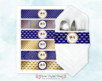 Napkin Wrappers Royal Blue & Gold | Prince Crown | Digital Instant Download