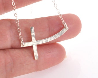 Curved Sideways Cross Necklace, Hammered Cross Necklace, Silver Cross Necklace, Horizontal Cross Necklace, Large Cross Pendant