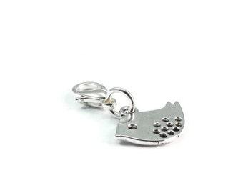 Clearance Sale Bird Zipper Pull Purse Charm Silver Clip On Charms