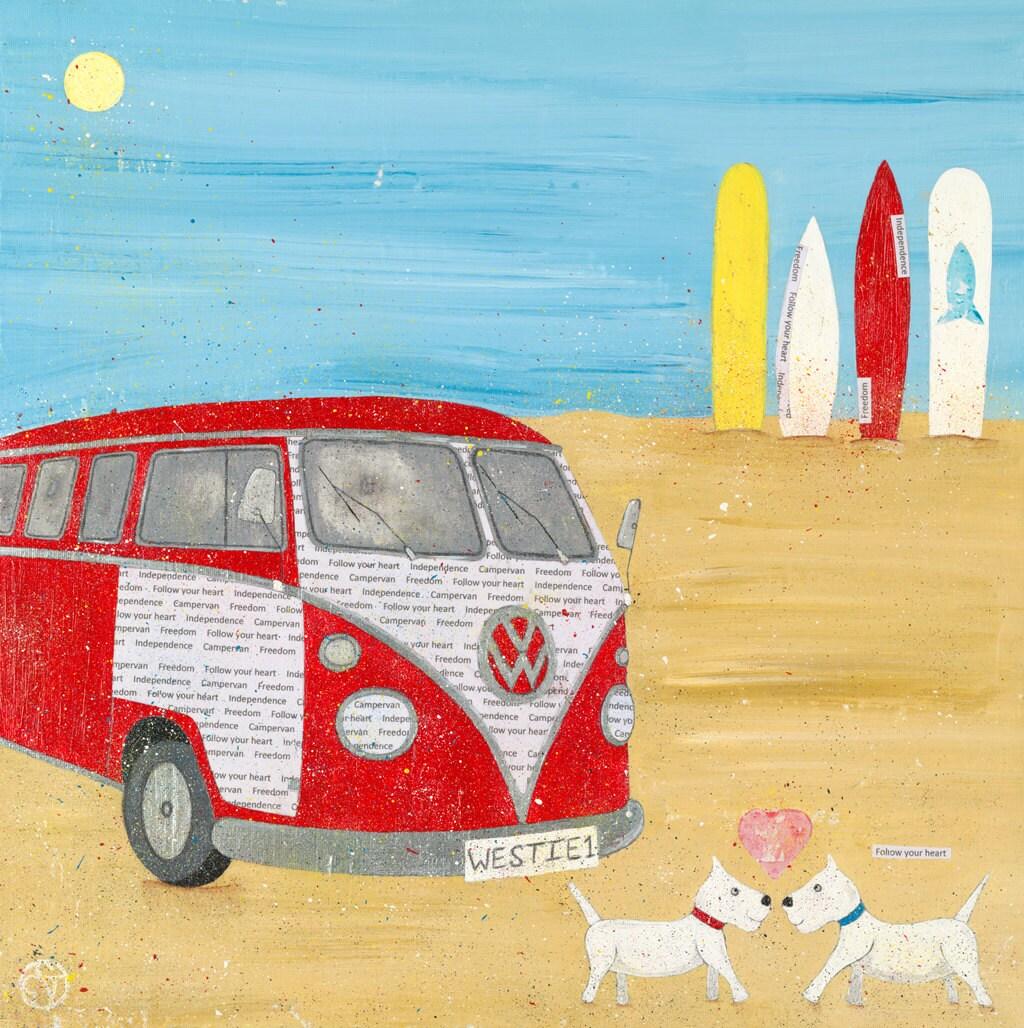 Campervan painting canvas beach art whimsical beach art zoom kristyandbryce Gallery