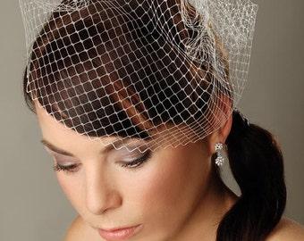 """Birdcage veil 10"""" Short white veil Bridal veil White Fascinator Veil French netting veil Russian netting veil Wedding Fascinator Bridal veil"""