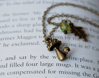 Brass Mushrooms | Cute Mushroom Charm Necklace | Forest Toadstool Necklace