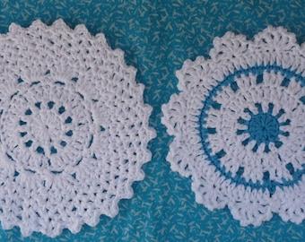 Doily Dishcloth Crochet PATTERN Set - INSTANT DOWNLOAD