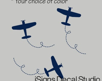 Airplane Wall Decal Set - Airplane Stickers -  Set includes 3 Planes - Airplane Decal - Kids Room Decal - Boys Decal - Airplane Sticker