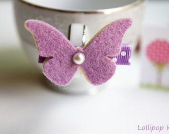 Baby Hair Clips Kids Hair Clips Toddler Hair Clips Girls Hair Clips Lavender Wool Felt Butterfly Hair Clip