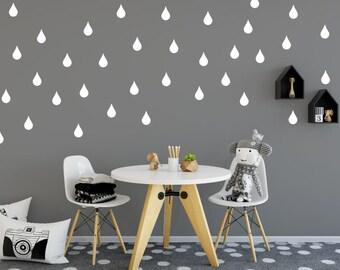 Raindrop Nursery Wall Decal, Rain Drop Wall Stickers, Rain Drop Wall Decals