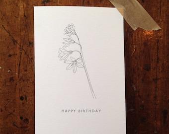 Botanical Flower Drawing Birthday Card