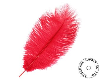 """Ostrich Feathers - Wholesale Wedding Feathers Ostrich Drab Plumes - Red - 10pcs (14-17"""")"""