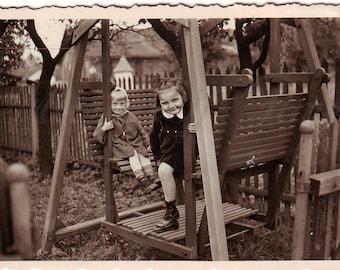 Vintage Photo - Cute girls on a swing - Little girls photo - Cute children - Vintage Snapshot - Polish Photo - Children photo - 1930s Photo