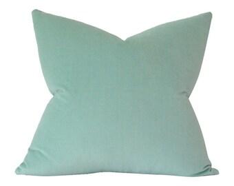 Ocean Aqua Velvet Designer Pillow Cover - Custom Made-to-Order - Decorative Throw Cushion