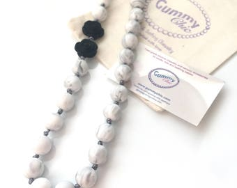 Silicone Teething Necklace   Breastfeeding Necklace   Babywearing Jewelry   Fiddle Necklace    Teething Jewelry   Gummy Chic   Marble Beads