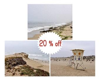 Coastal prints set, California prints 3 set, Monterey Bay lifeguard tower, foggy beach coastal art, grey beige tan decor, black and white