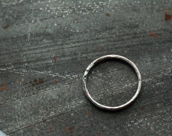 slim sterling silver organic  stacking ring, hammered textured reticulated lightly oxidized polished 925 silver ring