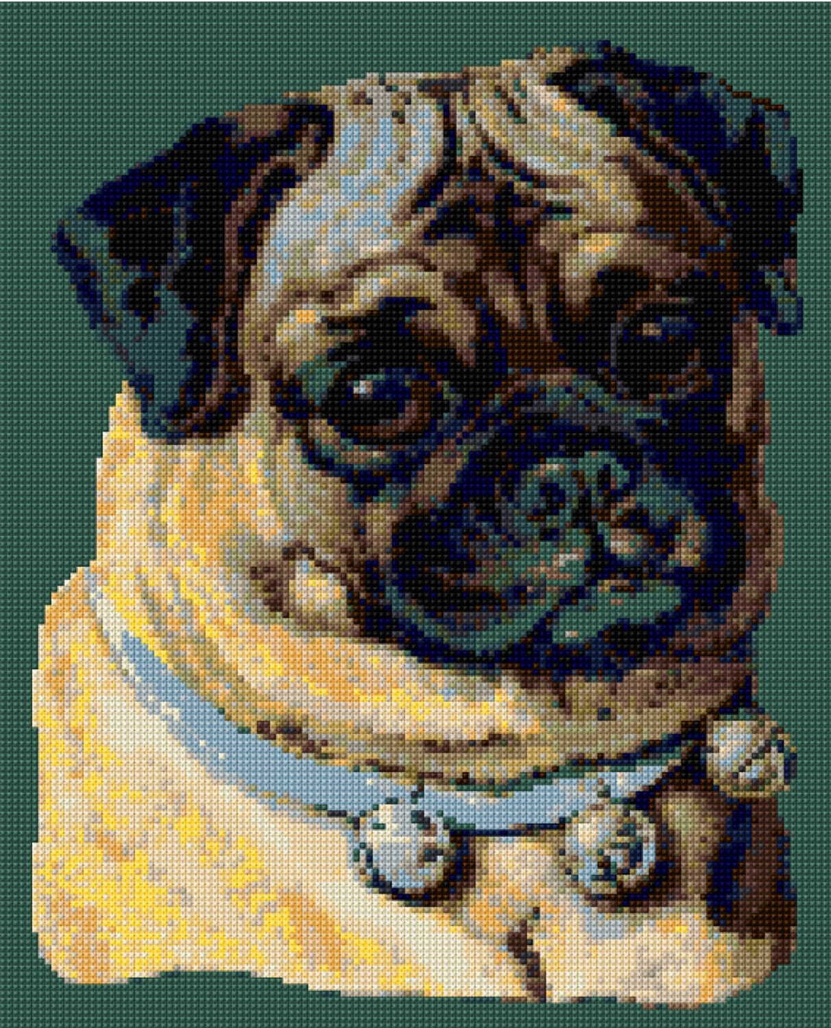 Victorian Pug Cross Stitch pattern PDF - EASY chart with one color ...