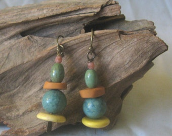muted colored disk earrings