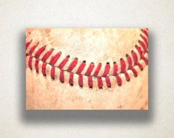 Baseball Stitch Canvas Art, Baseball Wall Art, Sport Canvas Print, Close Up Wall Art, Photograph, Canvas Print, Home Art, Wall Art Canvas