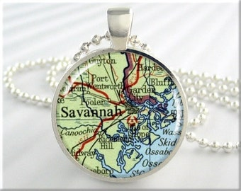 Savannah Map Pendant, Resin Charm, Savannah Georgia Map Necklace, Picture Jewelry, Gift Under 20, Round Silver, Travel Gift 437RS