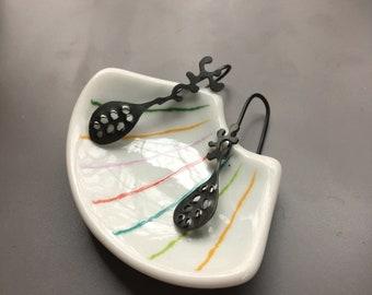 OOAK: Spriggan Husk Drops; Oxidized Recycled Sterling Silver Post Earrings