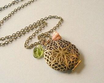 Brass Locket Necklace Gold Brass Scent Locket Round Photo Locket Gift for Her Perfume Locket