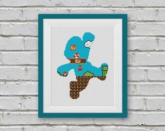 BOGO FREE! Super Mario, Cross Stitch Pattern, Retro Video Game Super Mario Cross Stitch, Embroidery Needlework PDF Instant Download #010-1