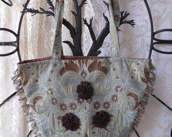 Seafoam Green Tapestry Purse Tote Bag Handbag Vintage Hand Sewn Brown Flowers Fringe