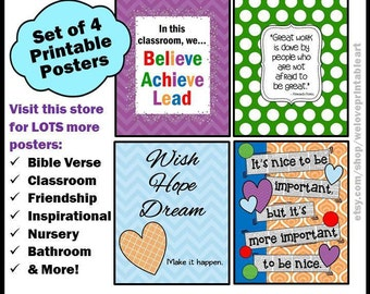 Inspirational Quote Posters for Teacher Classroom Decor Back to School Printable Decorations Set of 4