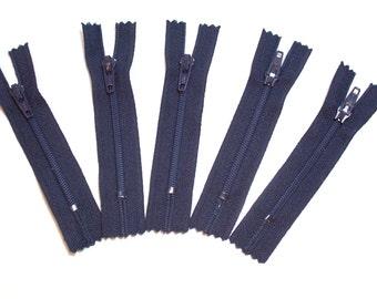 Blue Zippers, Navy Blue YKK Zippers 3 inch Set of 5, Bulk Zippers, 3 Inch Zippers