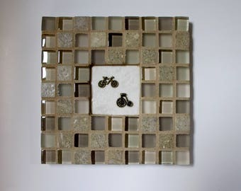 """Tan Champagne Beige Glass Marble Stone Mosaic Tile Trivet with Bicycle and Tricycle 6"""" x 6"""""""