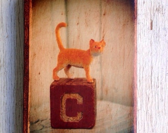Vintage Toy C is for Cat Art/Photo - Wall Art 4x6