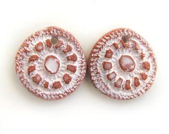 Terracotta Beads - earrings ceramic beads, crafted jewelry, flat beads, unique jewelry, rustic ceramic beads, bohemian artisan beads, retro