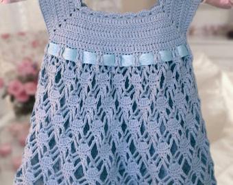 Ice blue Dress , Crochet Dress , Baby Dress , Dress Pattern