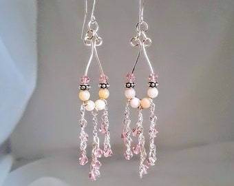 Pink Opal and Swarovski Crystal Dangling Earrings