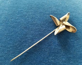 Vintage Sterling Leonore Doskow Stick Pin,  Working Pinwheel Stick Pin