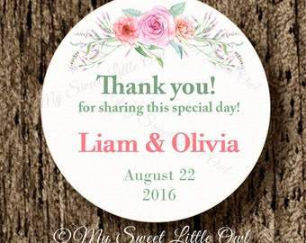 Wedding label - flower wedding sticker - pink wedding thank you tag - bridal shower printable - bridal shower label - wedding printable