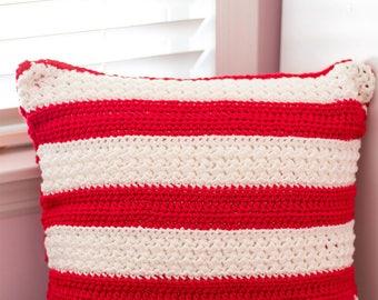 PDF Crochet Pattern - Holiday Striped Pillow